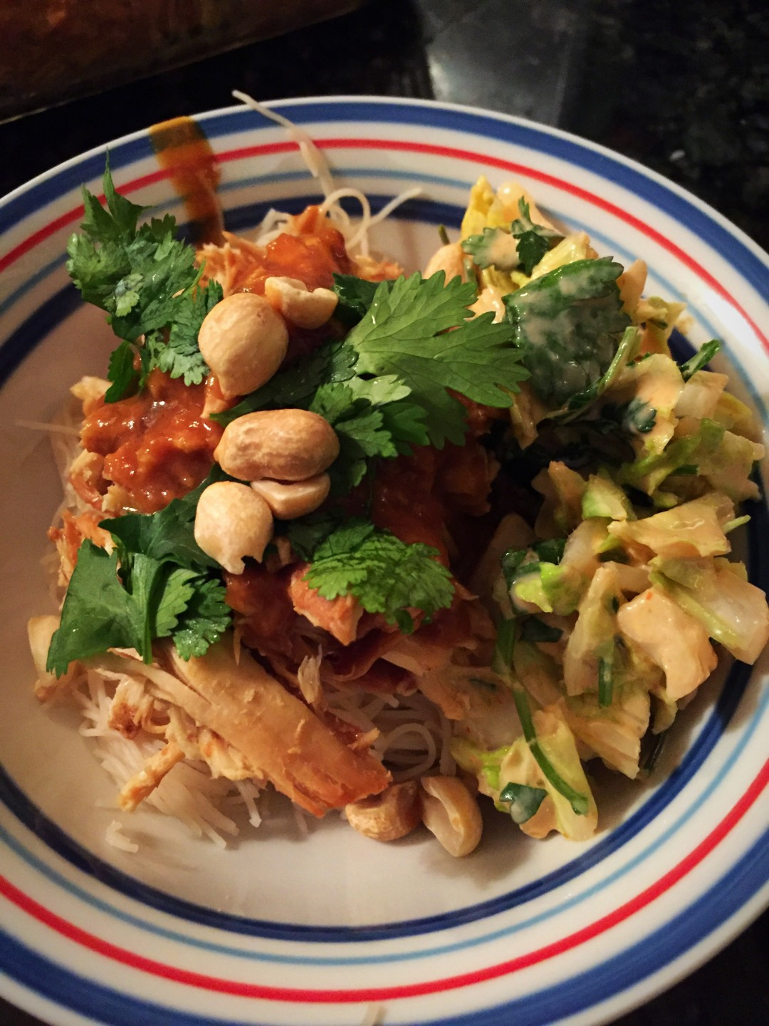 Thai Chicken Noodle Bowls with Peanut Sauce and Spicy Slaw ...